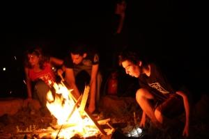 gabe building a fire